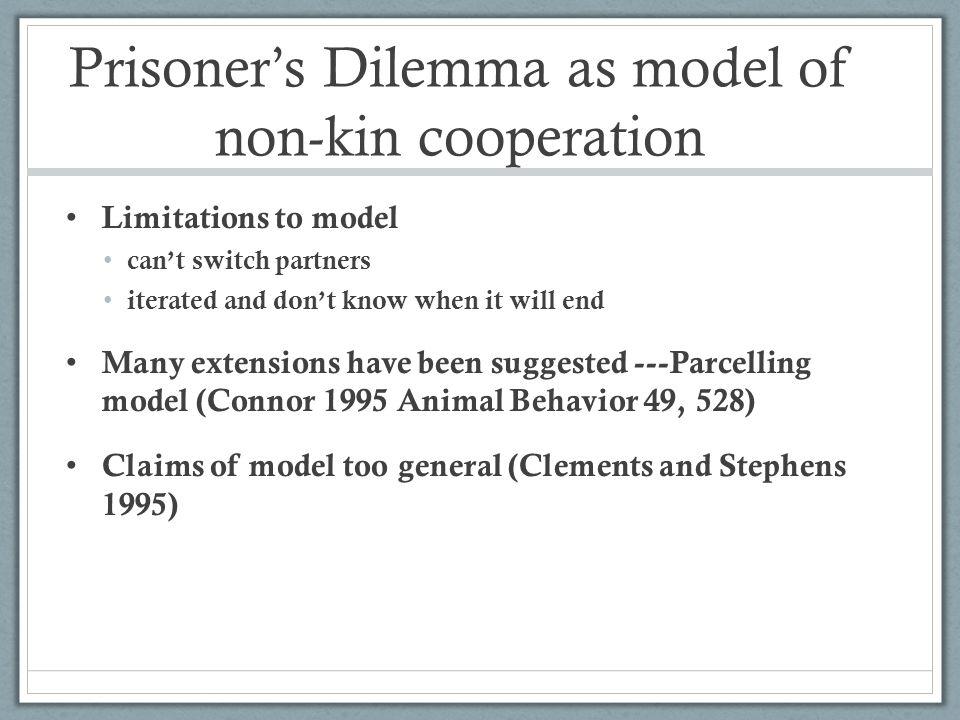Prisoner's Dilemma as model of non-kin cooperation
