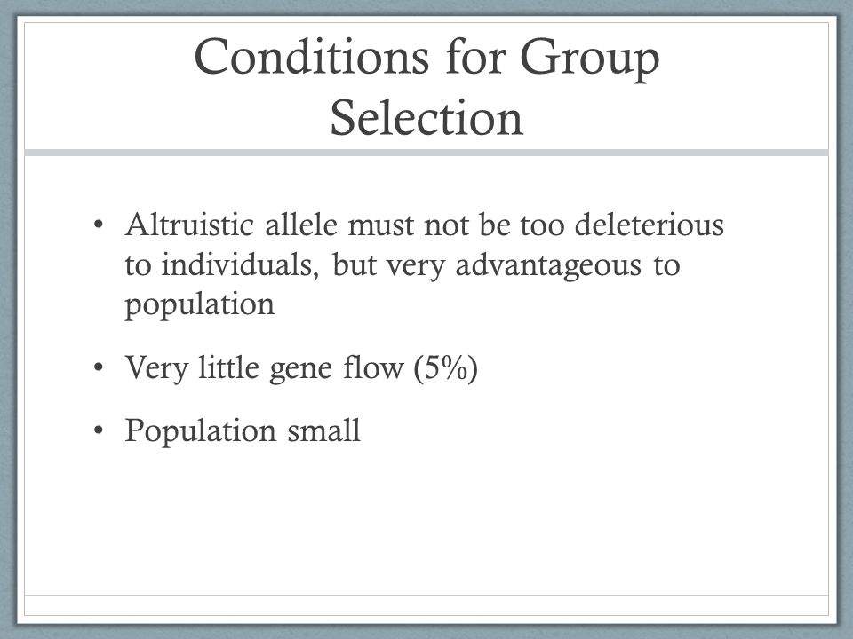 Conditions for Group Selection