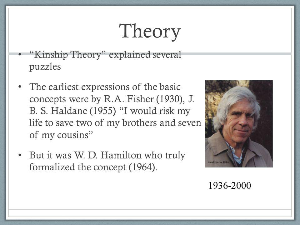 Theory Kinship Theory explained several puzzles