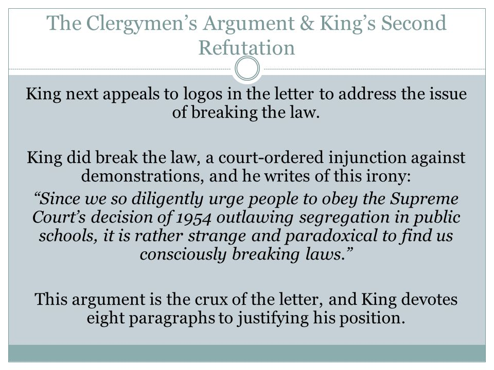 The Clergymen's Argument & King's Second Refutation