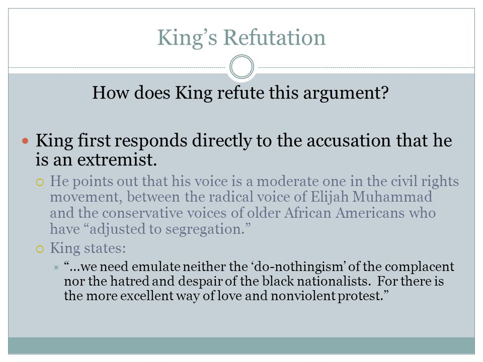 How does King refute this argument