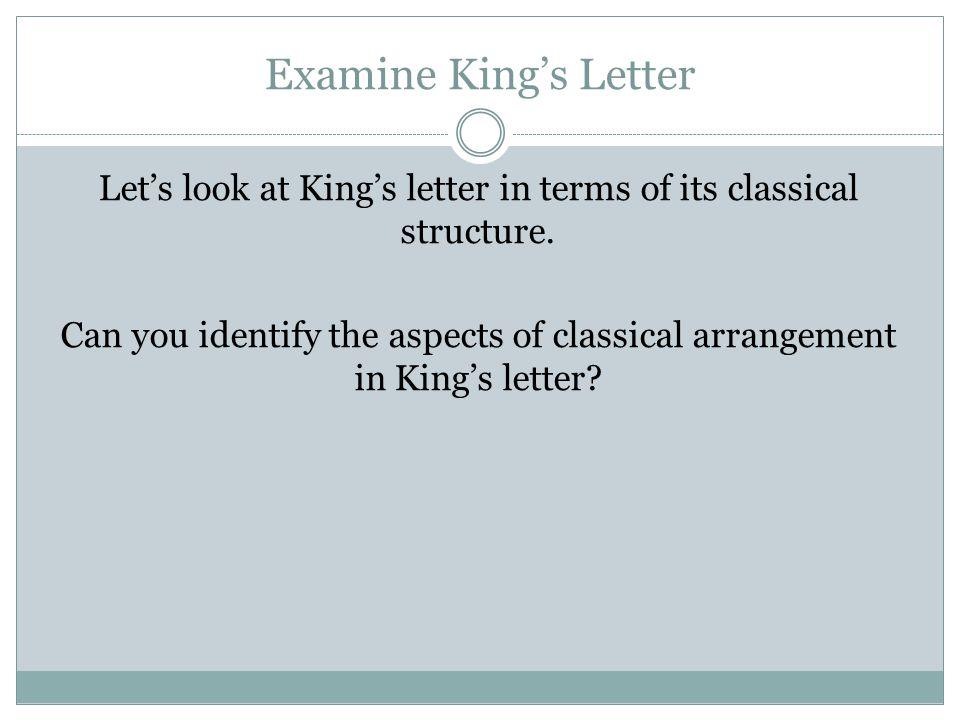 Examine King's Letter
