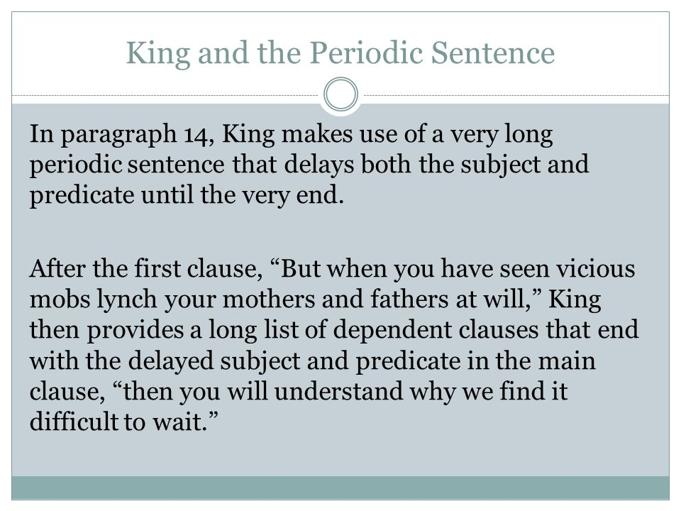 King and the Periodic Sentence