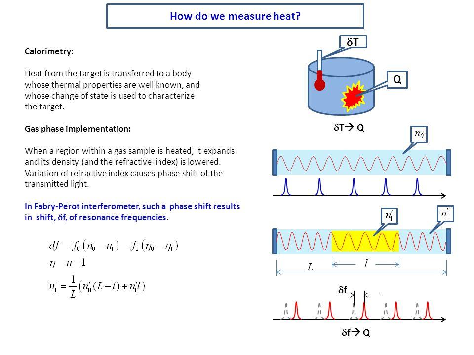 How do we measure heat dT Q l dT Q n0 L df df Q Calorimetry: