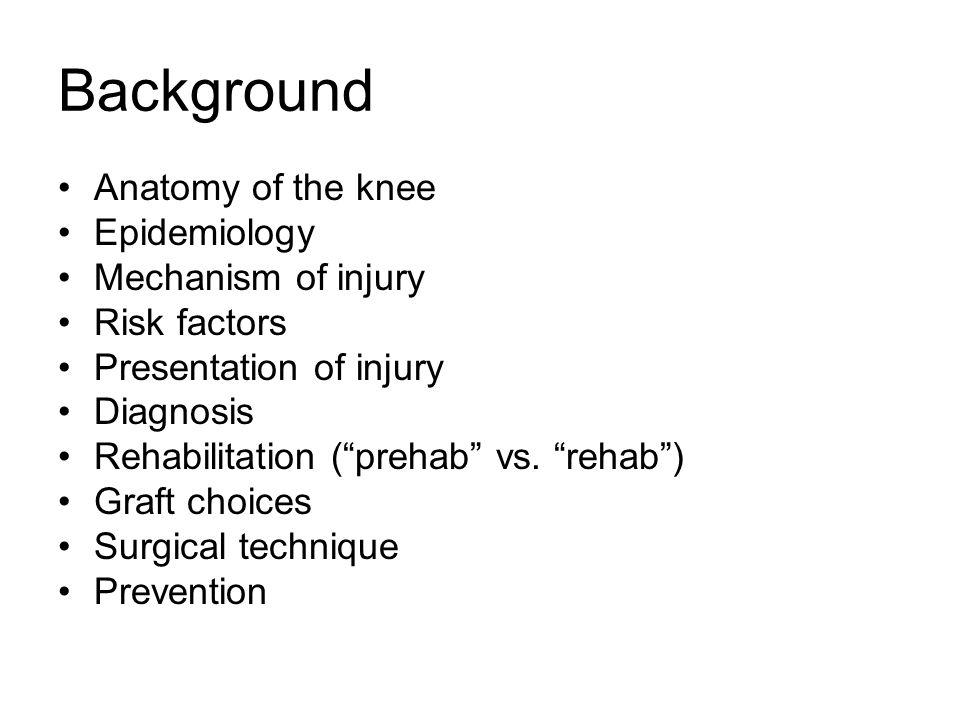Background Anatomy of the knee Epidemiology Mechanism of injury