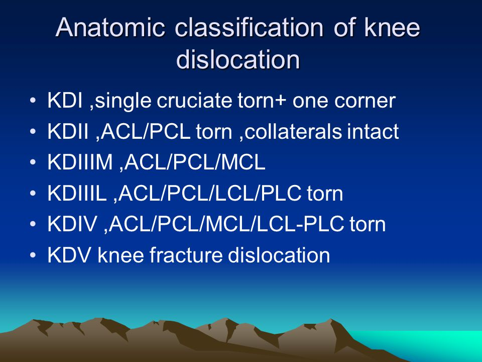 Anatomic classification of knee dislocation