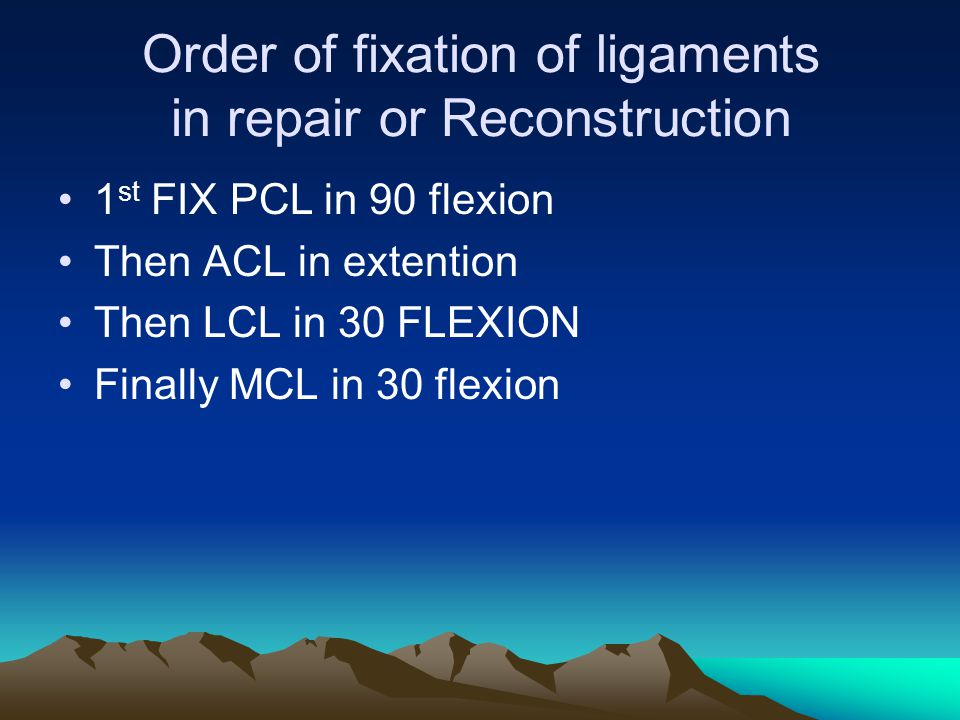 Order of fixation of ligaments in repair or Reconstruction