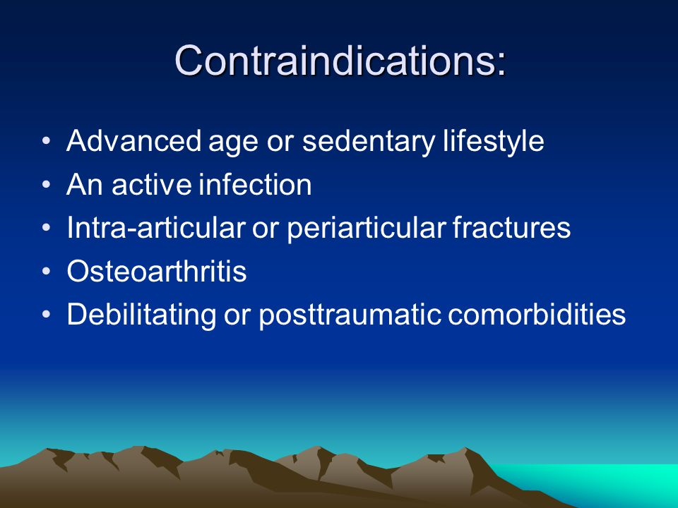 Contraindications: Advanced age or sedentary lifestyle