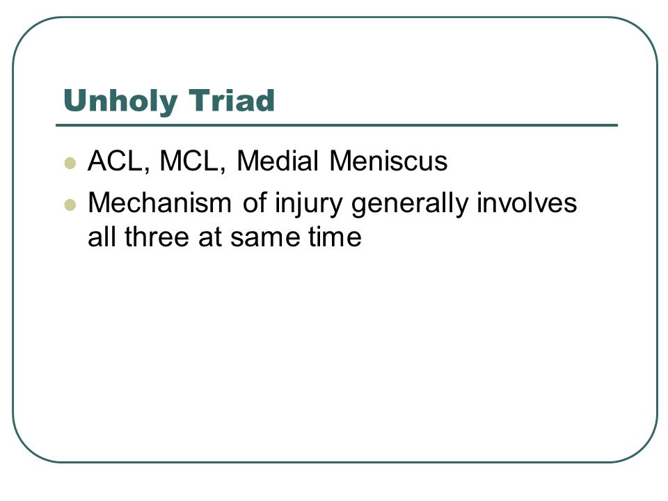 Unholy Triad ACL, MCL, Medial Meniscus