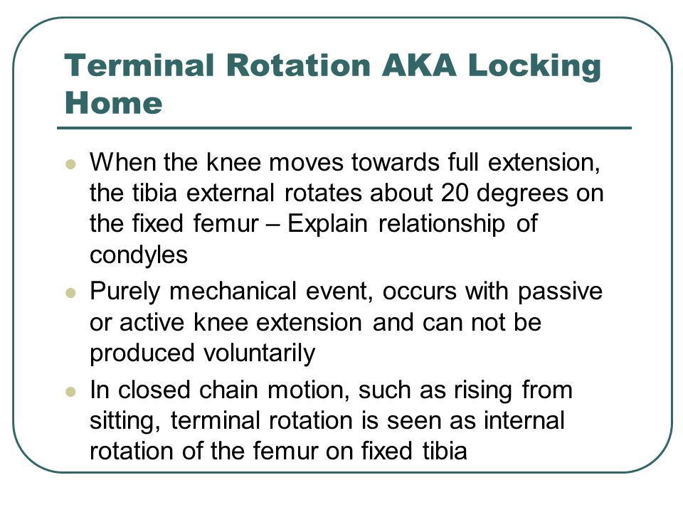 Terminal Rotation AKA Locking Home