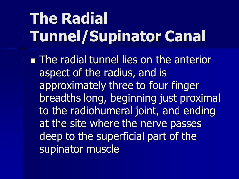 The Radial Tunnel/Supinator Canal