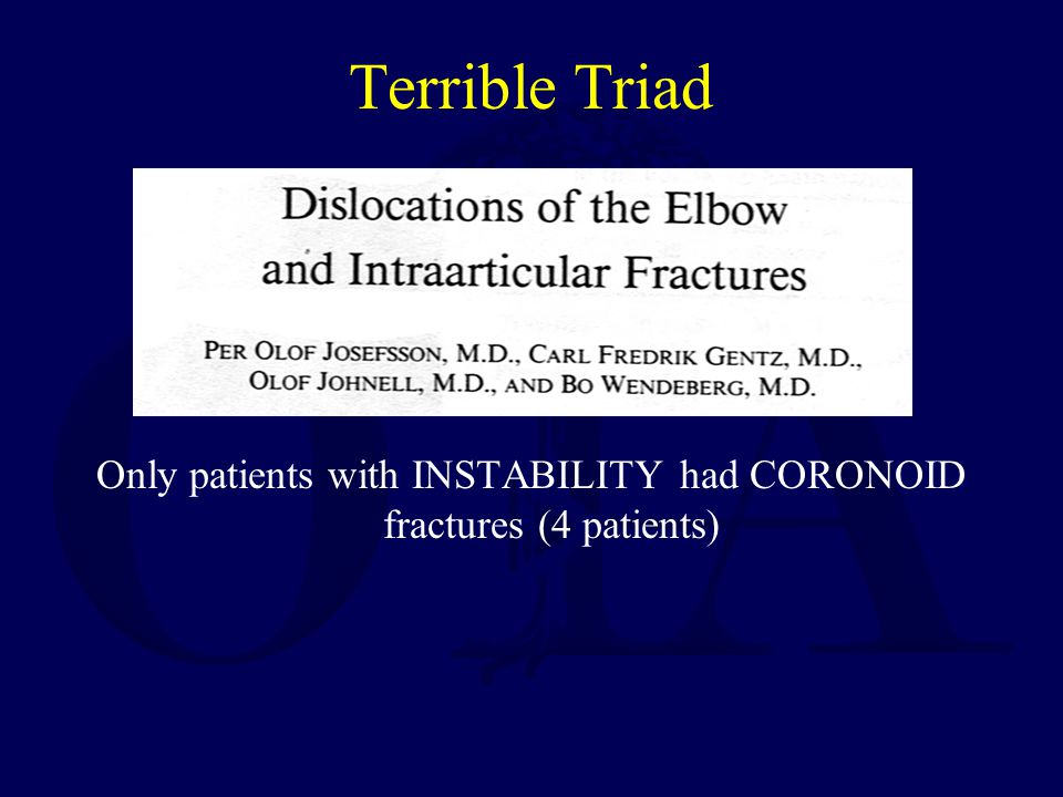 Only patients with INSTABILITY had CORONOID fractures (4 patients)