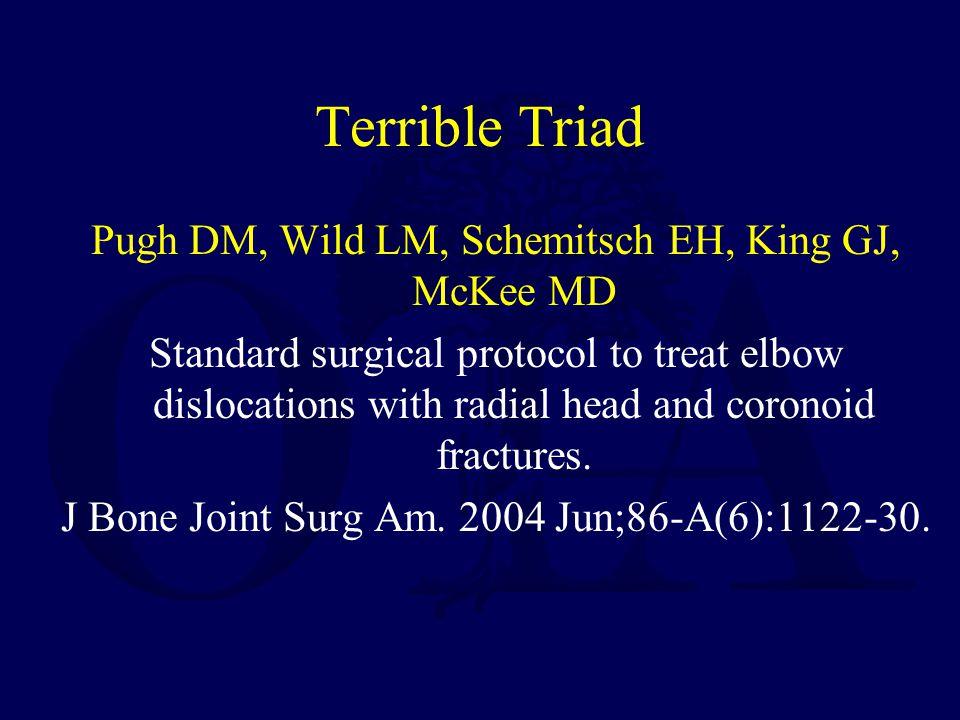 Terrible Triad Pugh DM, Wild LM, Schemitsch EH, King GJ, McKee MD