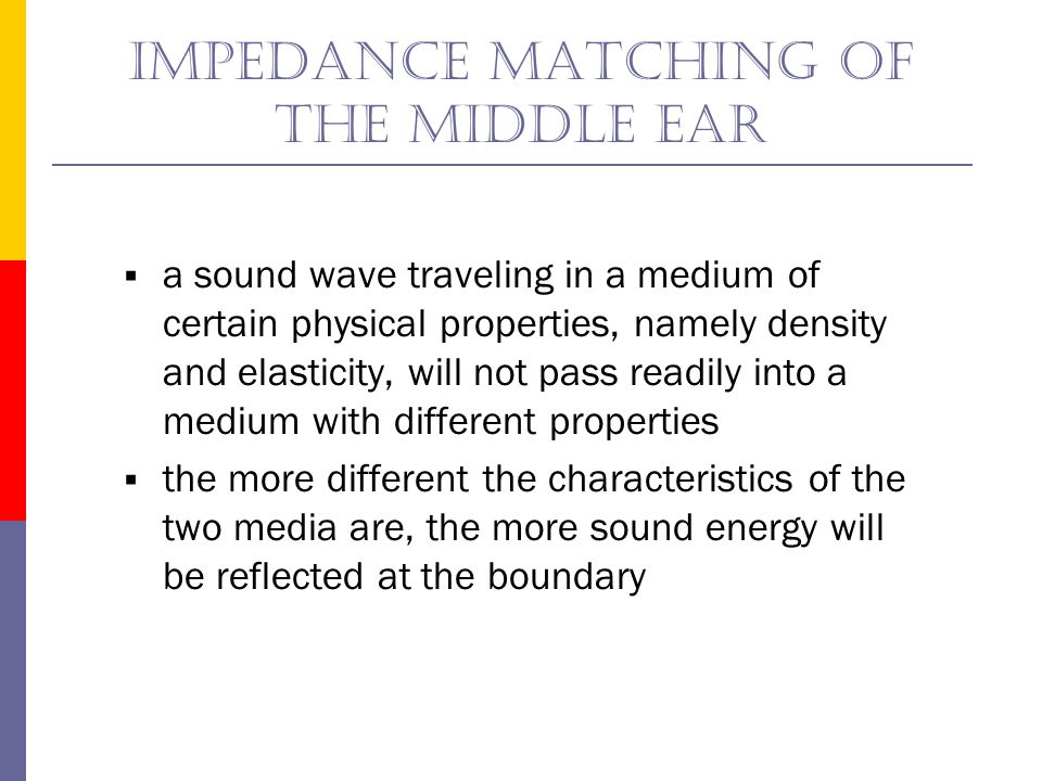 Impedance matching of the middle ear