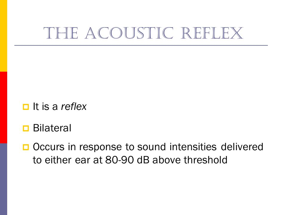 The acoustic reflex It is a reflex Bilateral