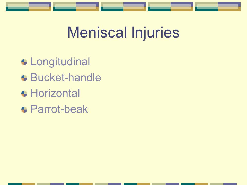 Meniscal Injuries Longitudinal Bucket-handle Horizontal Parrot-beak