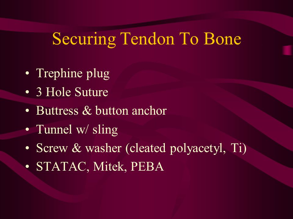 Securing Tendon To Bone