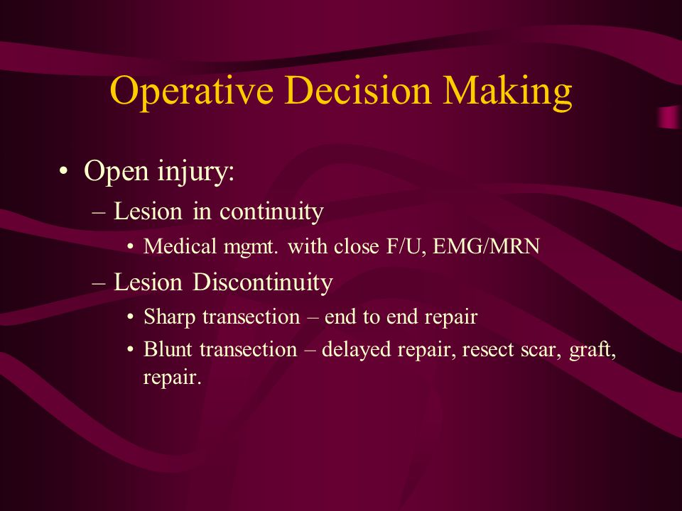 Operative Decision Making
