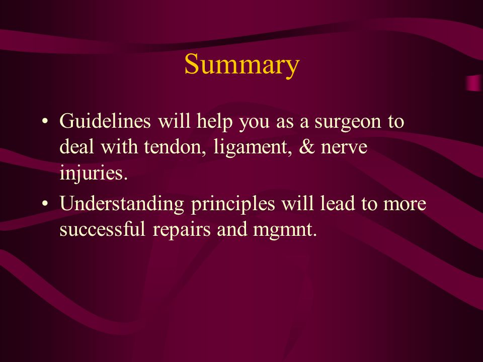 Summary Guidelines will help you as a surgeon to deal with tendon, ligament, & nerve injuries.