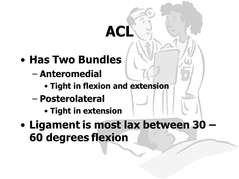ACL Has Two Bundles. Anteromedial. Tight in flexion and extension. Posterolateral. Tight in extension.