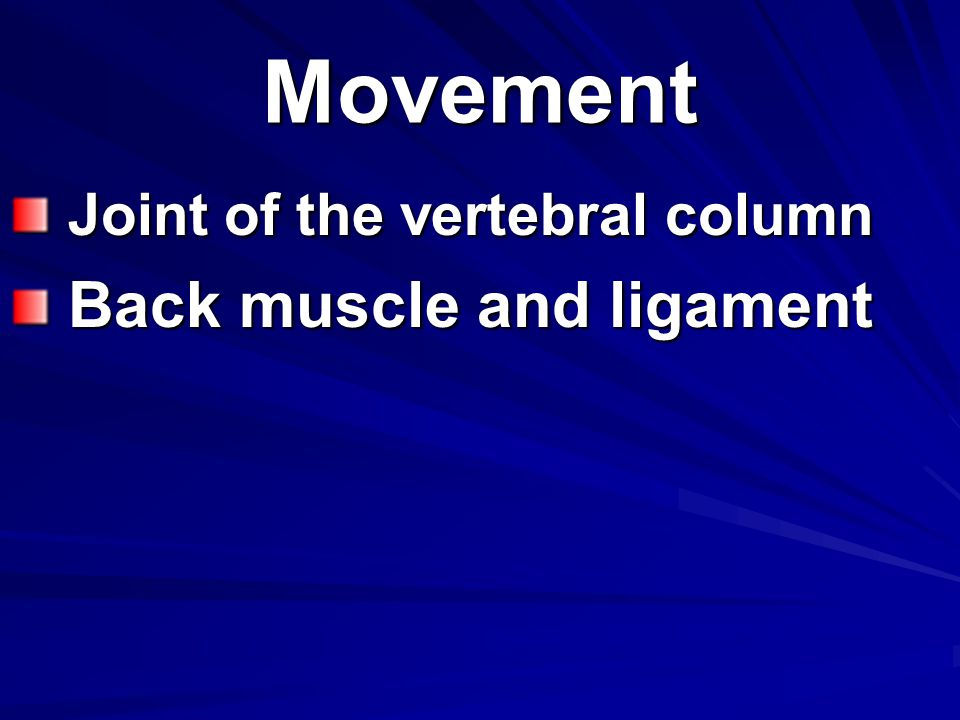 Movement Joint of the vertebral column Back muscle and ligament