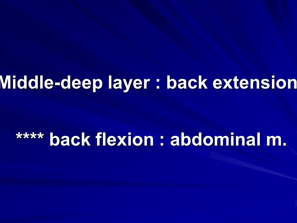 Middle-deep layer : back extension