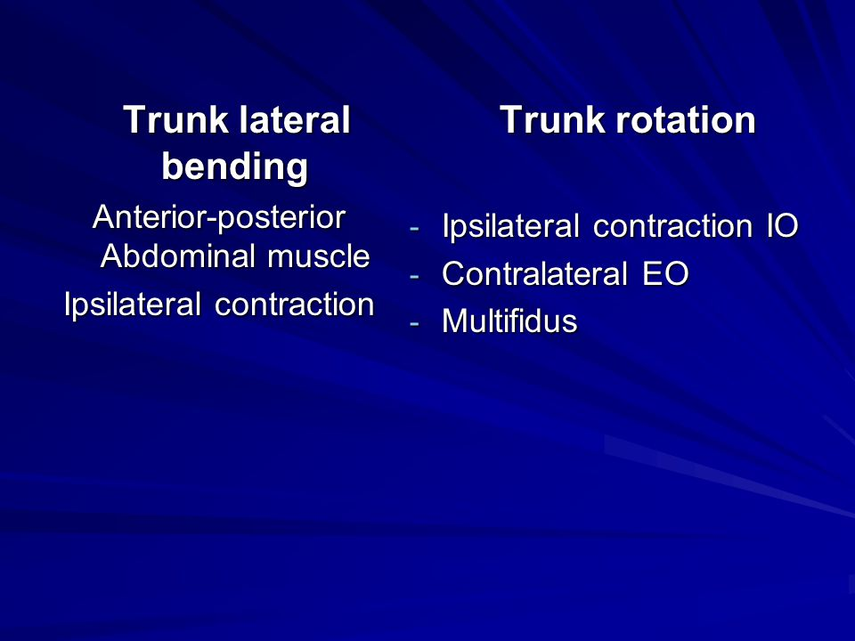 Trunk rotation Trunk lateral bending
