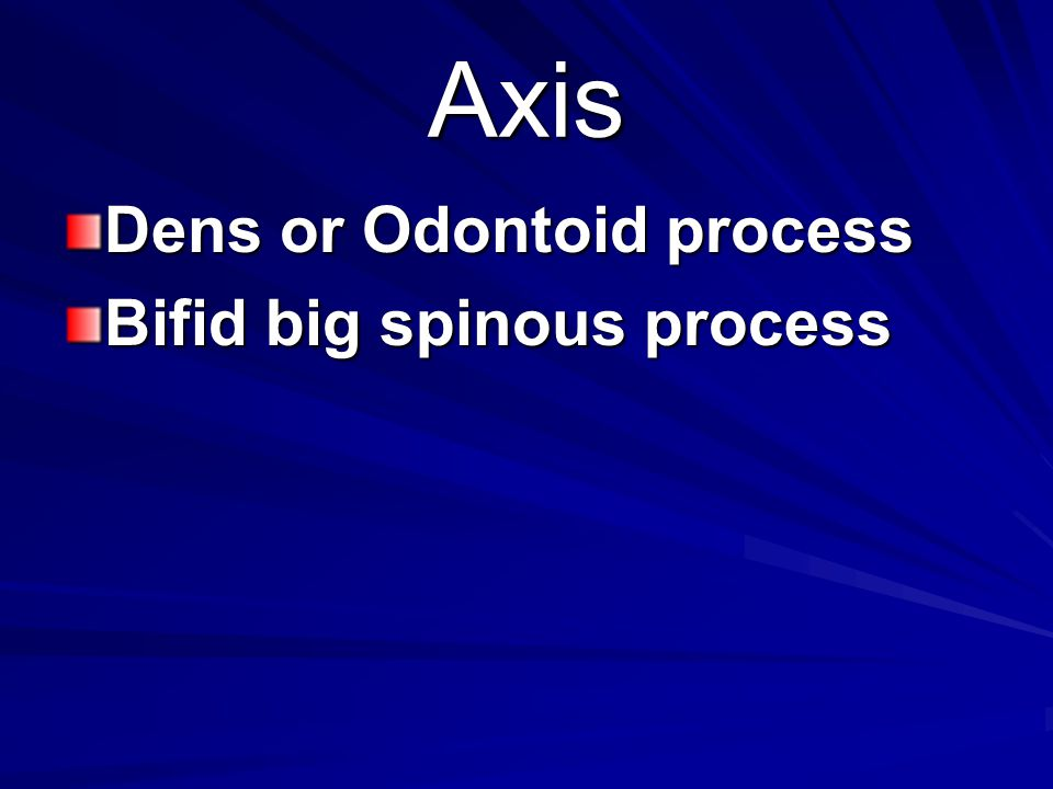 Axis Dens or Odontoid process Bifid big spinous process