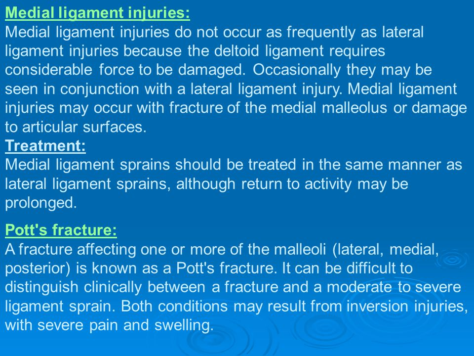 Medial ligament injuries: