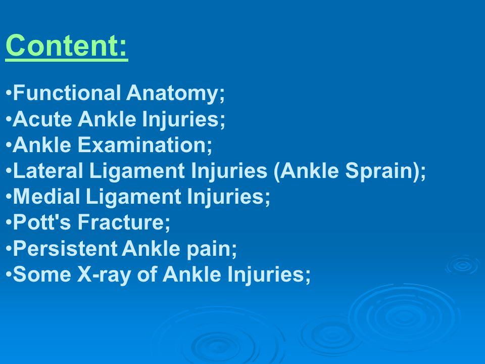 Content: Functional Anatomy; Acute Ankle Injuries; Ankle Examination;
