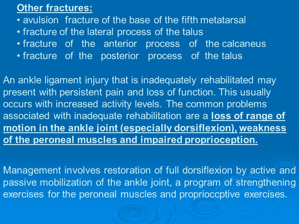 Other fractures: • avulsion fracture of the base of the fifth metatarsal. • fracture of the lateral process of the talus.