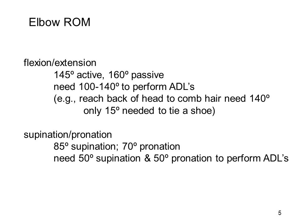 Elbow ROM flexion/extension 145º active, 160º passive