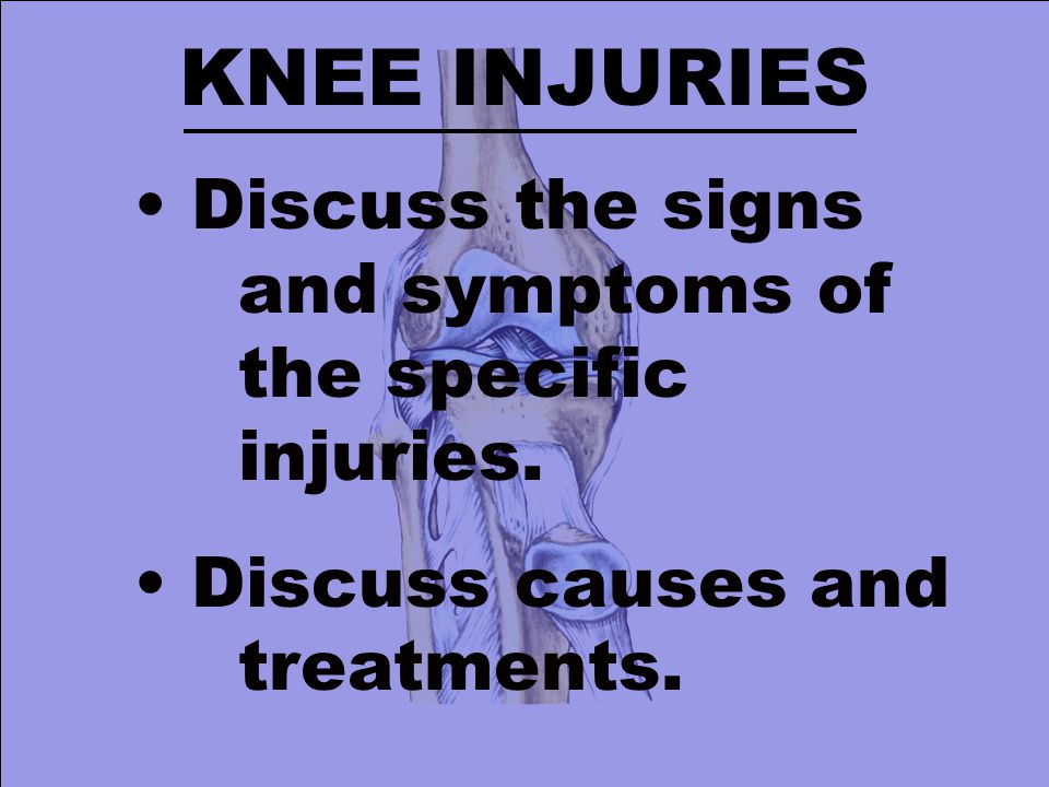 KNEE INJURIES Discuss the signs and symptoms of the specific injuries.