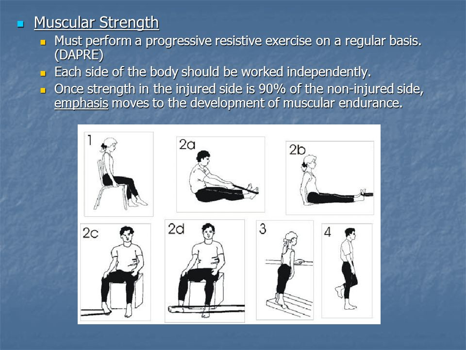 Muscular Strength Must perform a progressive resistive exercise on a regular basis. (DAPRE) Each side of the body should be worked independently.