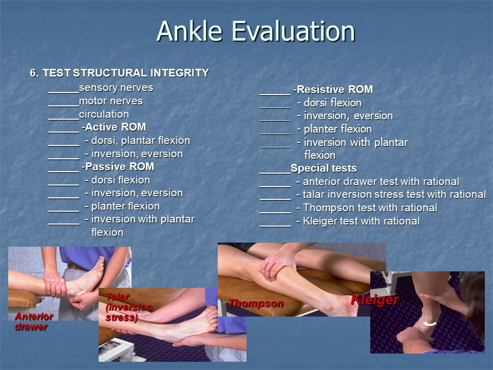 Ankle Evaluation Kleiger _____sensory nerves