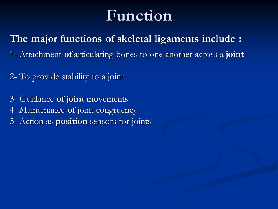 Function The major functions of skeletal ligaments include :