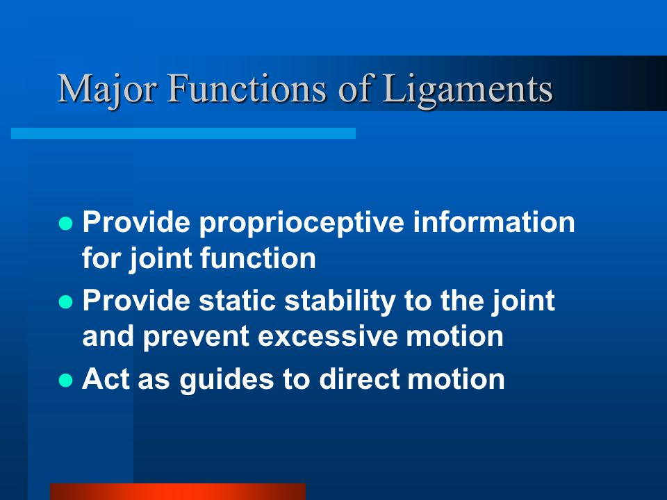 Major Functions of Ligaments