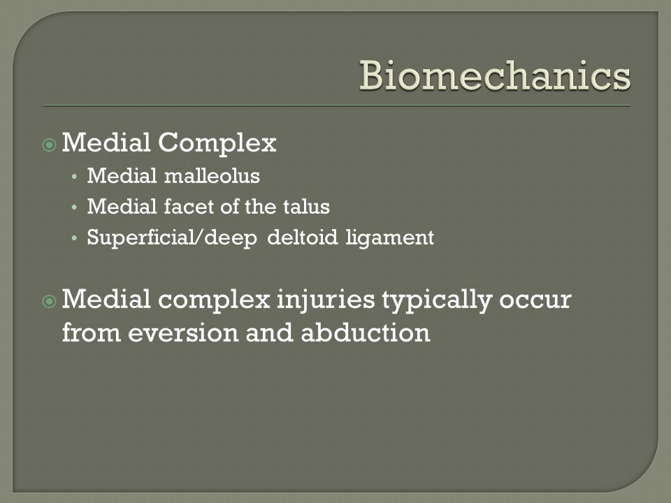 Biomechanics Medial Complex