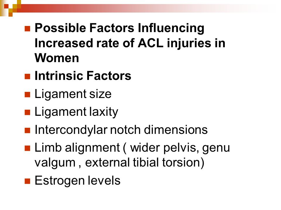 Possible Factors Influencing Increased rate of ACL injuries in Women