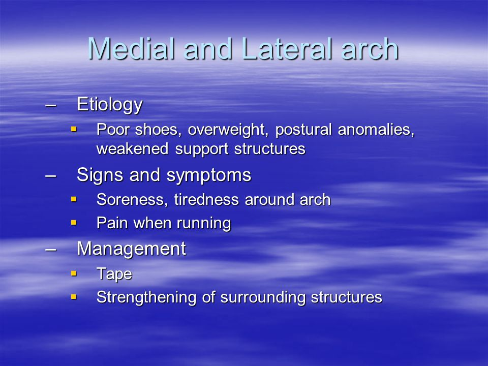 Medial and Lateral arch