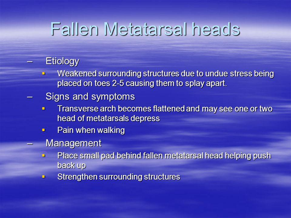 Fallen Metatarsal heads