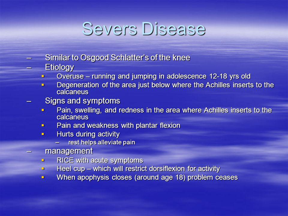 Severs Disease Similar to Osgood Schlatter's of the knee Etiology