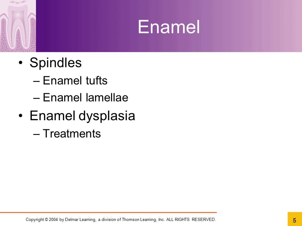 Enamel Spindles Enamel dysplasia Enamel tufts Enamel lamellae