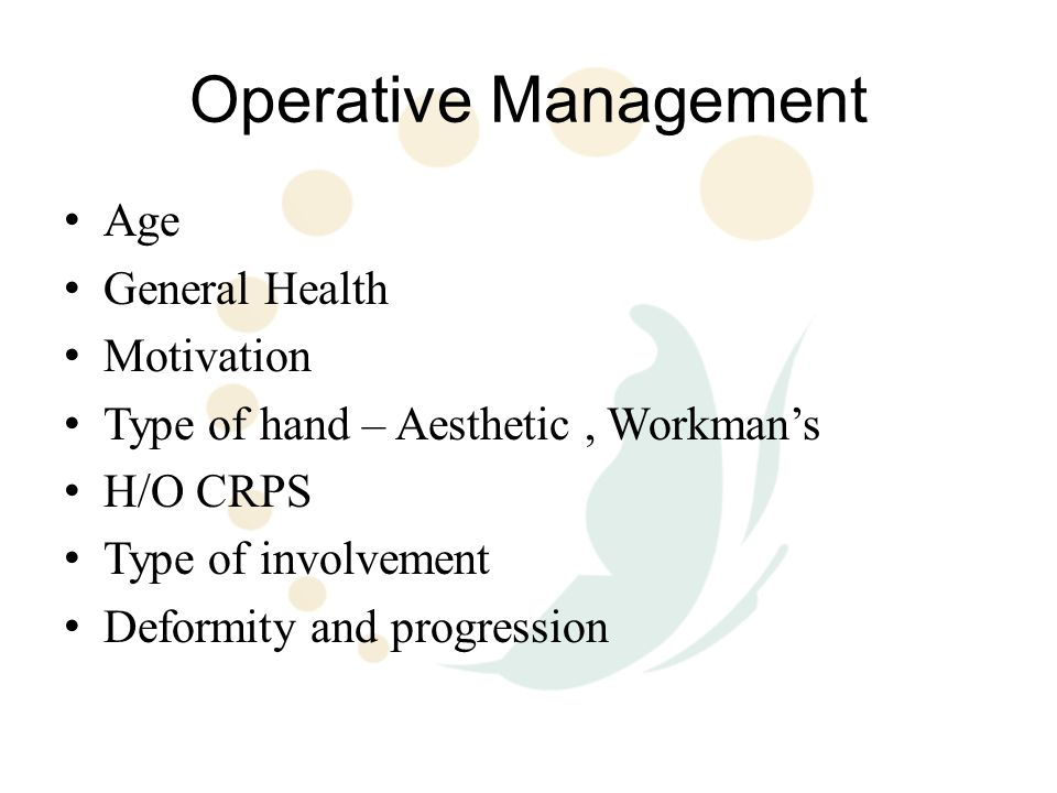 Operative Management Age General Health Motivation