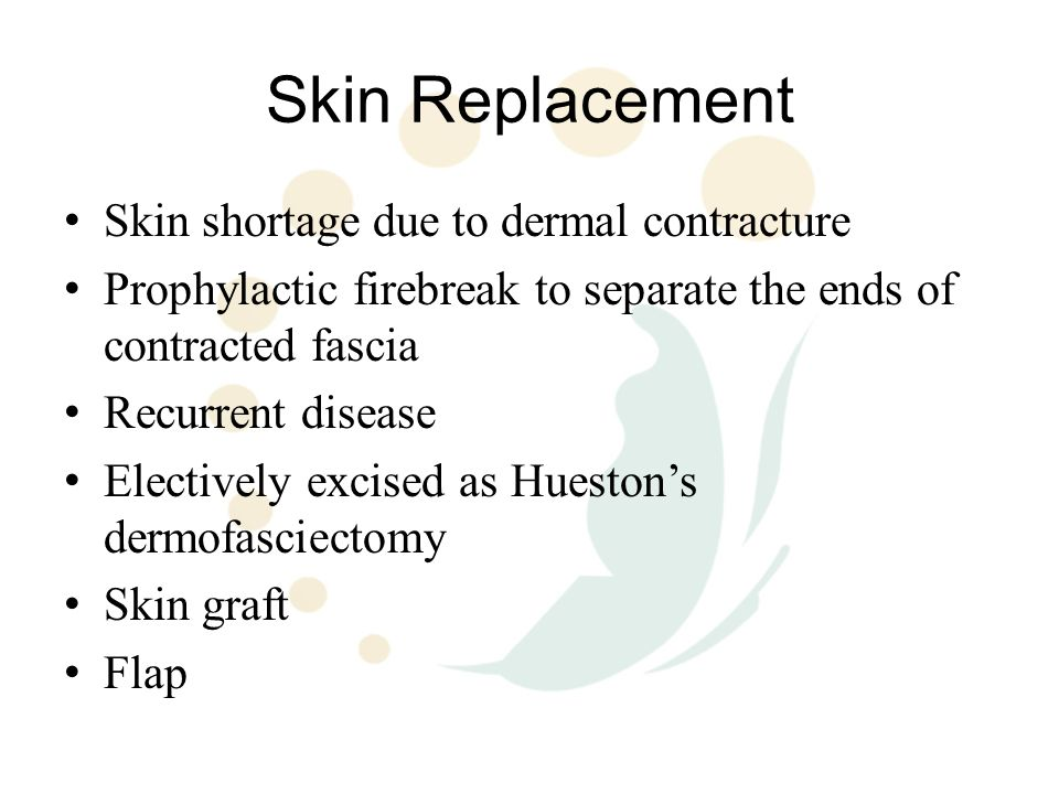 Skin Replacement Skin shortage due to dermal contracture