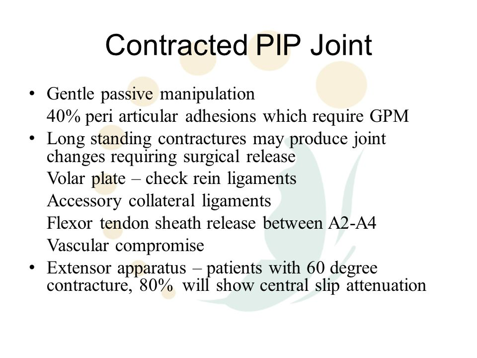 Contracted PIP Joint Gentle passive manipulation