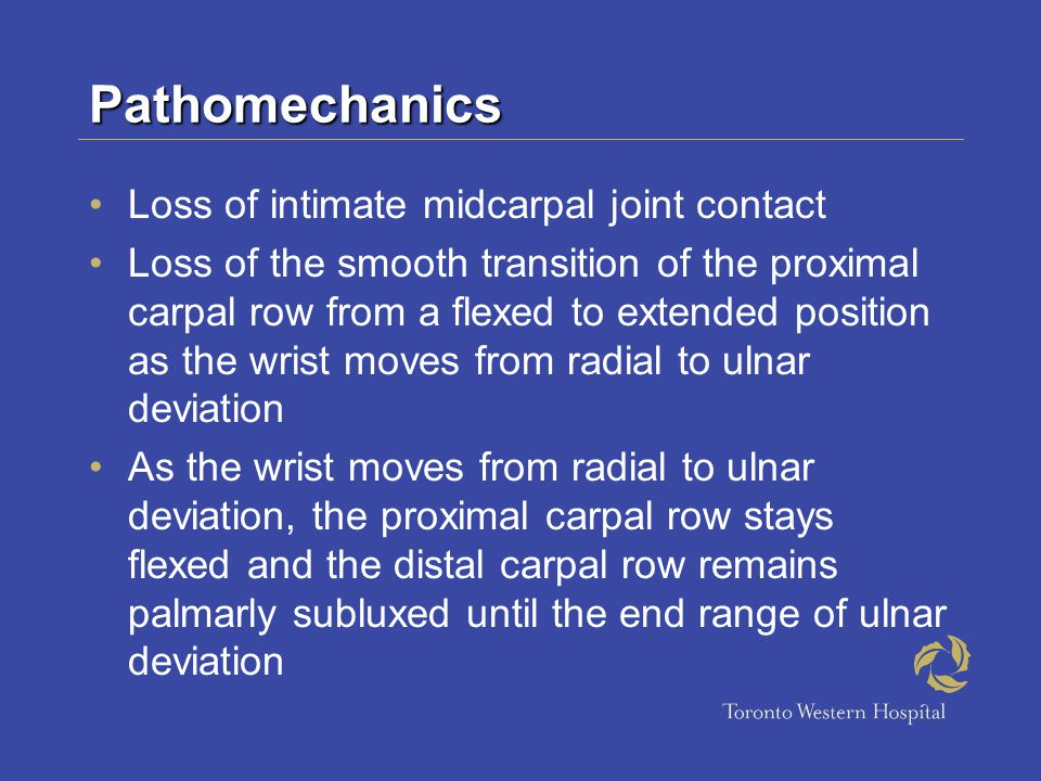 Pathomechanics Loss of intimate midcarpal joint contact