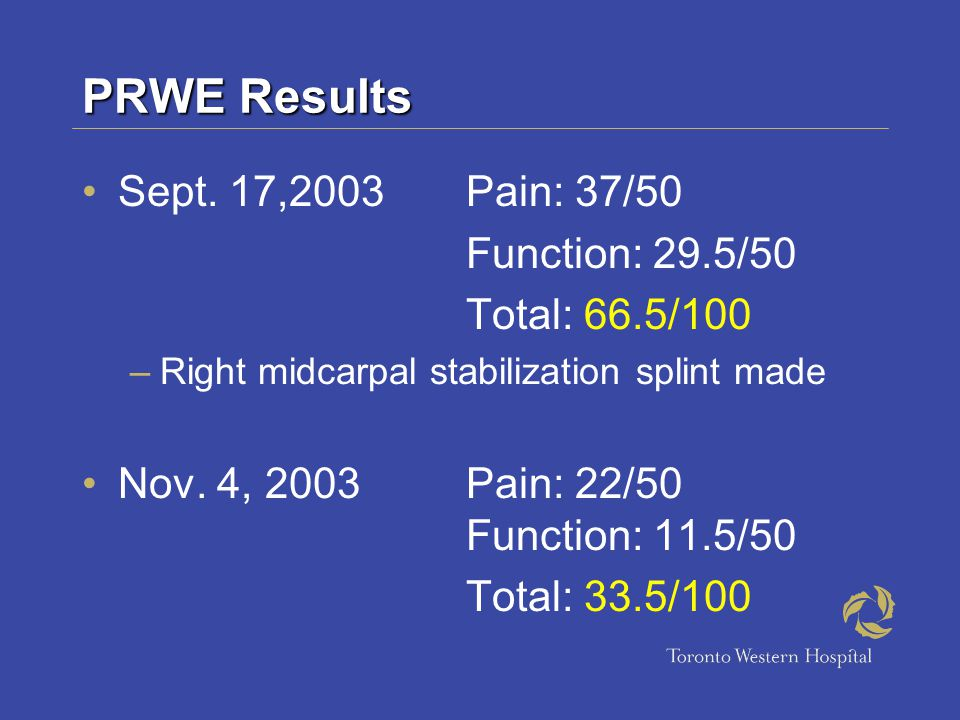 PRWE Results Sept. 17,2003 Pain: 37/50 Function: 29.5/50