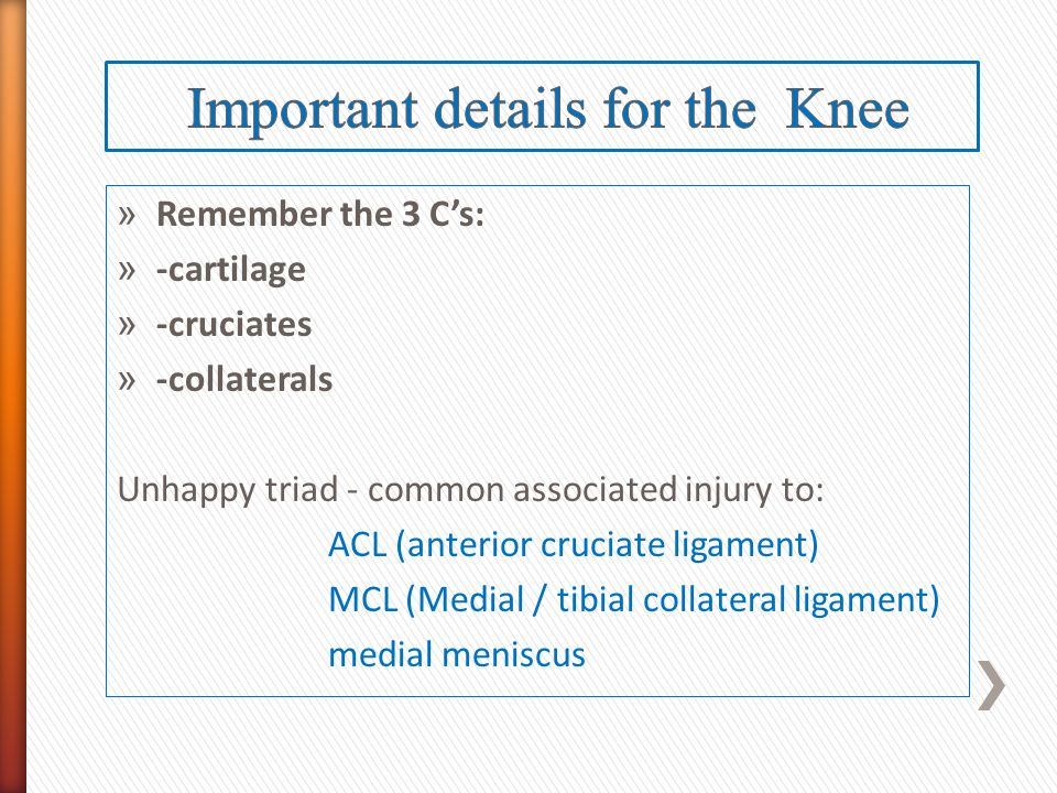 Important details for the Knee