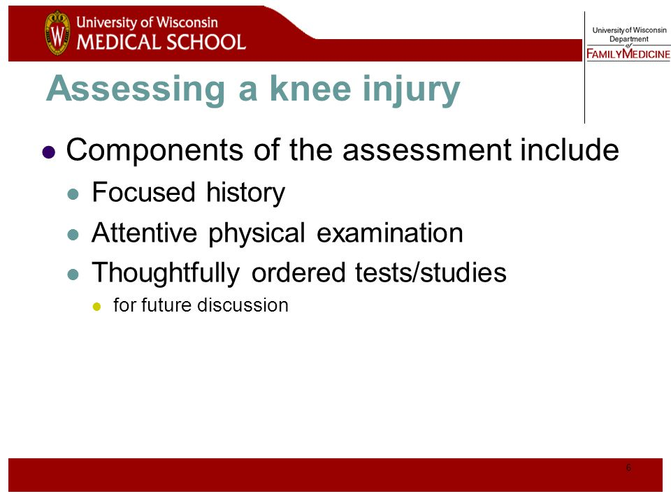Assessing a knee injury